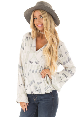 Ivory Multi Surplice Wide Sleeve Top front closeup