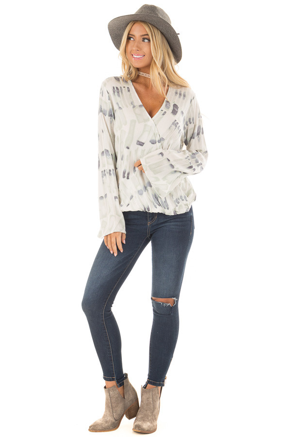 Ivory Multi Surplice Wide Sleeve Top front full body