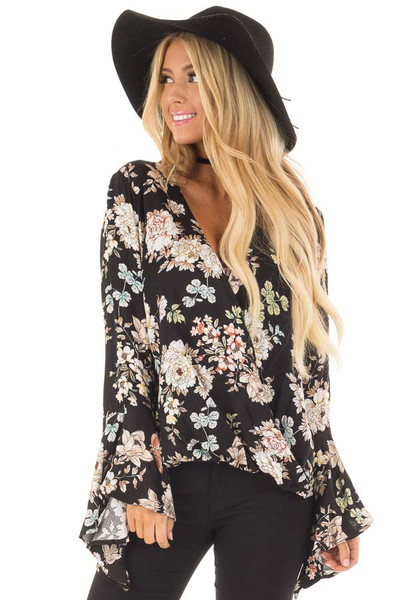 Black Floral Print Surplice Top with Bell Sleeves front closeup