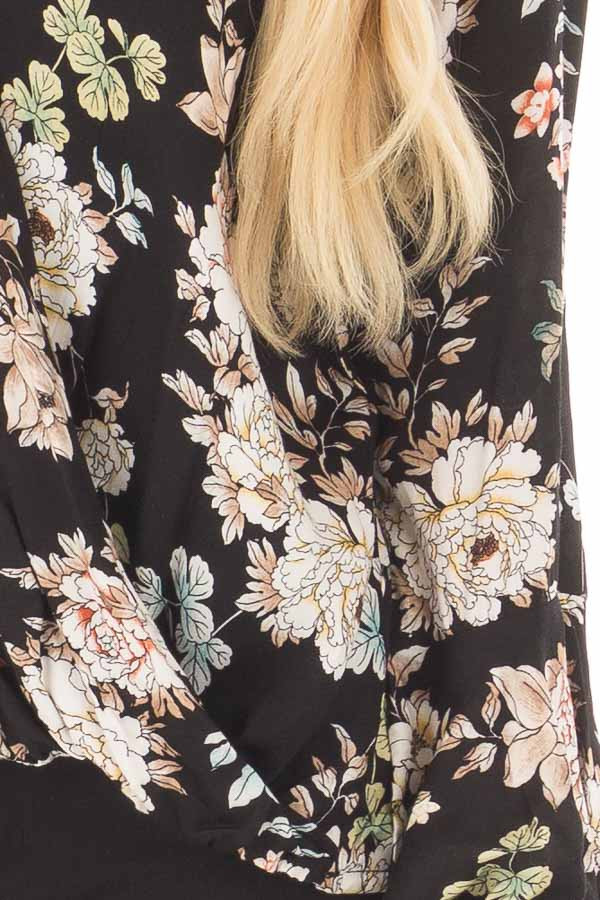 Black Floral Print Surplice Top with Bell Sleeves front detail