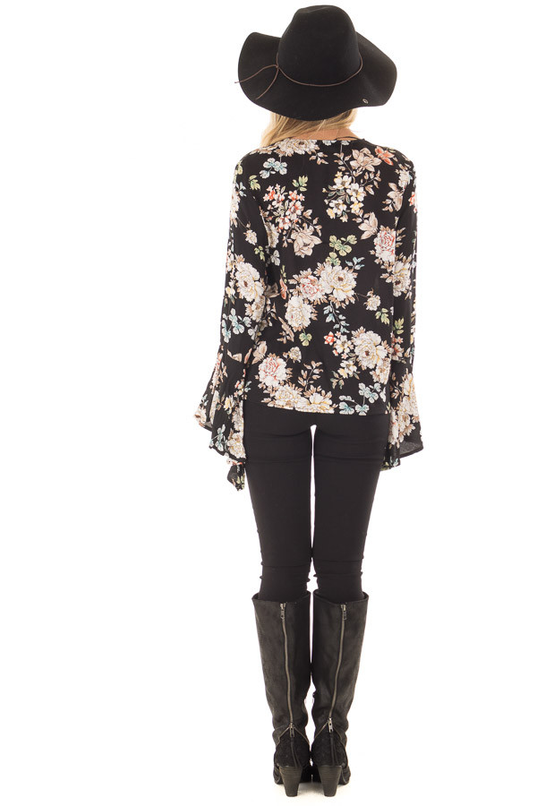Black Floral Print Surplice Top with Bell Sleeves back full body