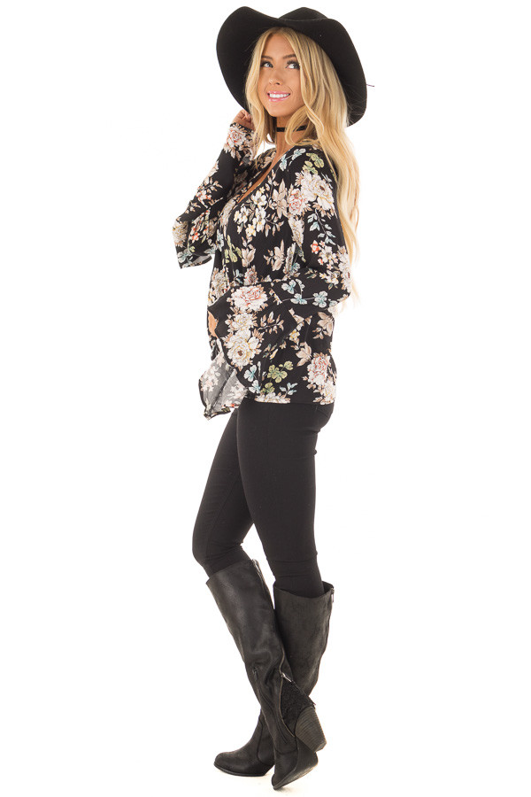Black Floral Print Surplice Top with Bell Sleeves side full body