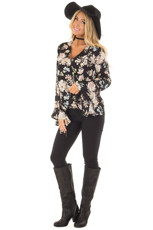 Black Floral Print Surplice Top with Bell Sleeves front full body