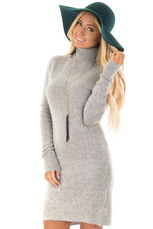 Light Grey Turtleneck Lightweight Sweater Tunic front closeup