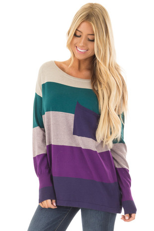Multi Color Block Top with Front Pocket front closeup