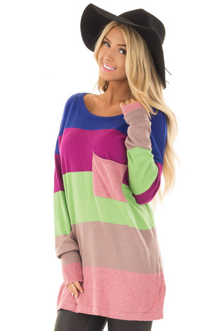 Multi Color Block Long Sleeve Top with Front Pocket front closeup