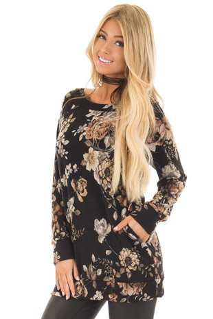Black Floral Print Off the Shoulder Tunic front closeup