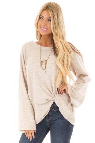 Oatmeal Boat Neck Sweater with Bell Sleeves and Front Twist front closeup