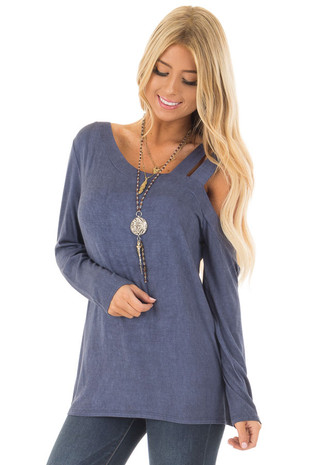 Navy Blue Asymmetric Top with One Shouldered Double Strap front closeup
