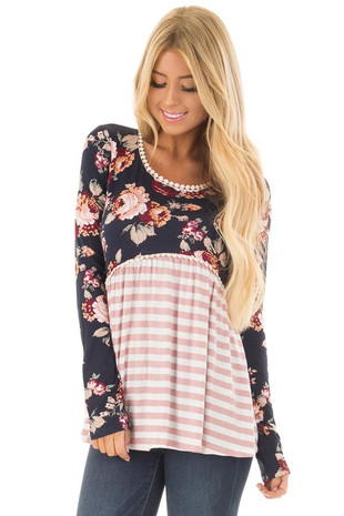 Navy Floral Print Babydoll Top with Stripe Contrast front closeup