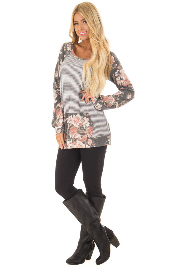 Charcoal Striped and Floral Print Top with Kangaroo Pocket front full body