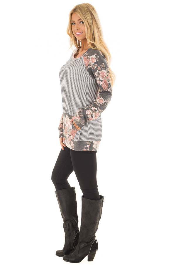 Charcoal Striped and Floral Print Top with Kangaroo Pocket side full body