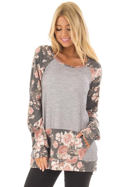 Charcoal Striped and Floral Print Top with Kangaroo Pocket front closeup