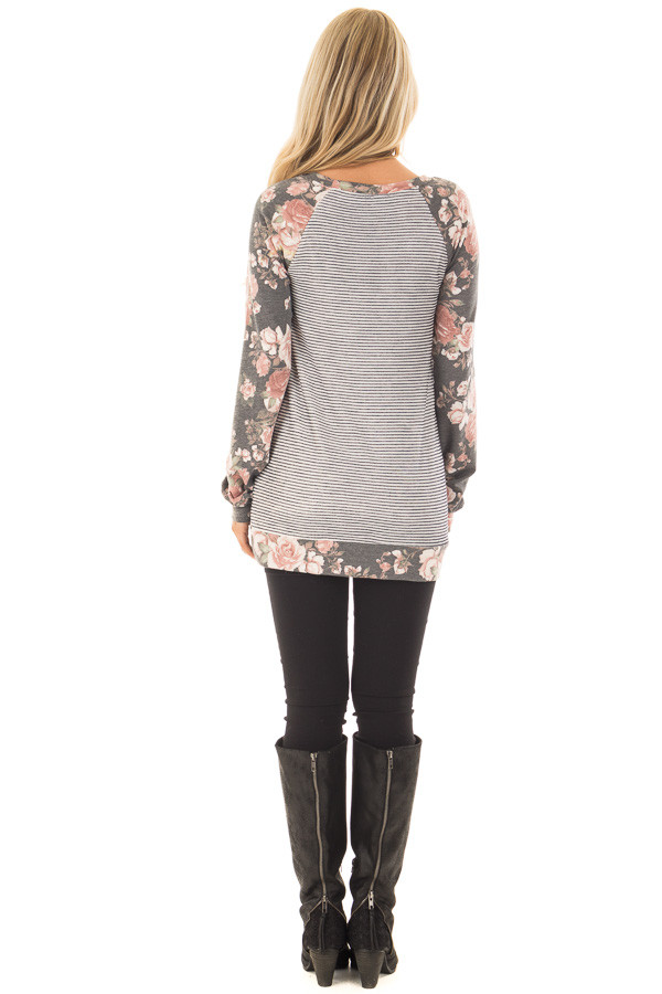 Charcoal Striped and Floral Print Top with Kangaroo Pocket back full body