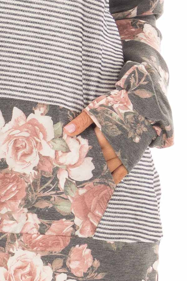 Charcoal Striped and Floral Print Top with Kangaroo Pocket front detail