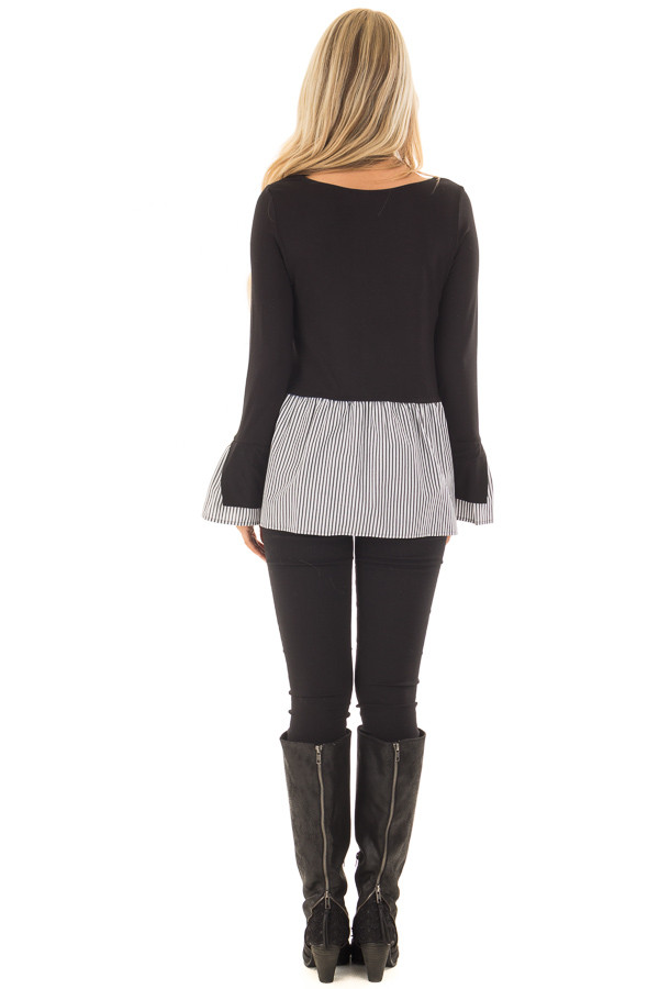 Black Bell Sleeve Top with Stripe Contrast back full body