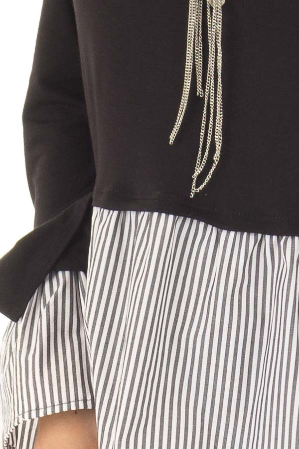 Black Bell Sleeve Top with Stripe Contrast front detail
