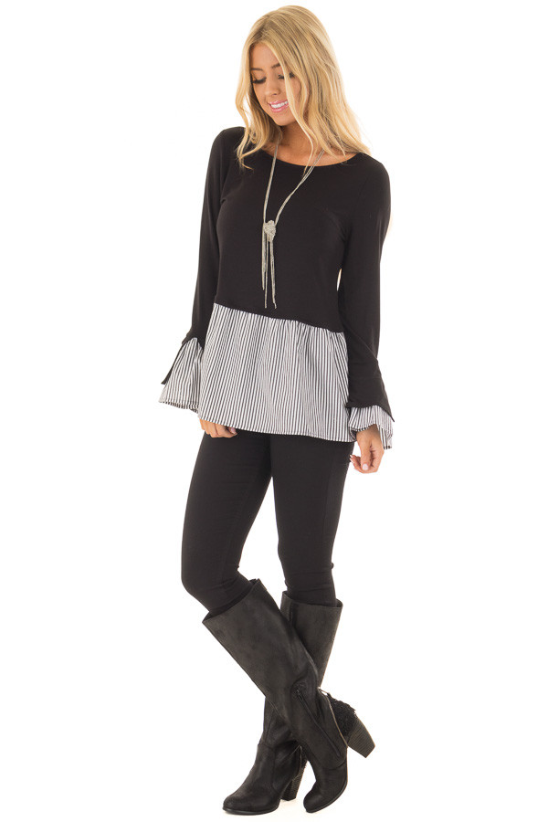 Black Bell Sleeve Top with Stripe Contrast front full body