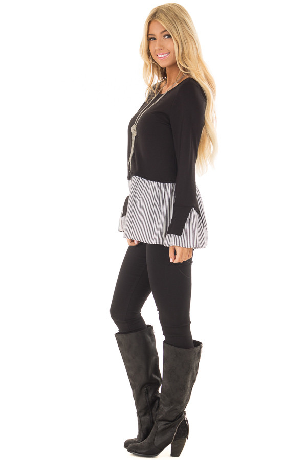 Black Bell Sleeve Top with Stripe Contrast side full body