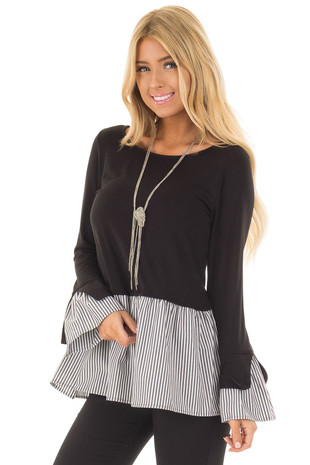 Black Bell Sleeve Top with Stripe Contrast front closeup