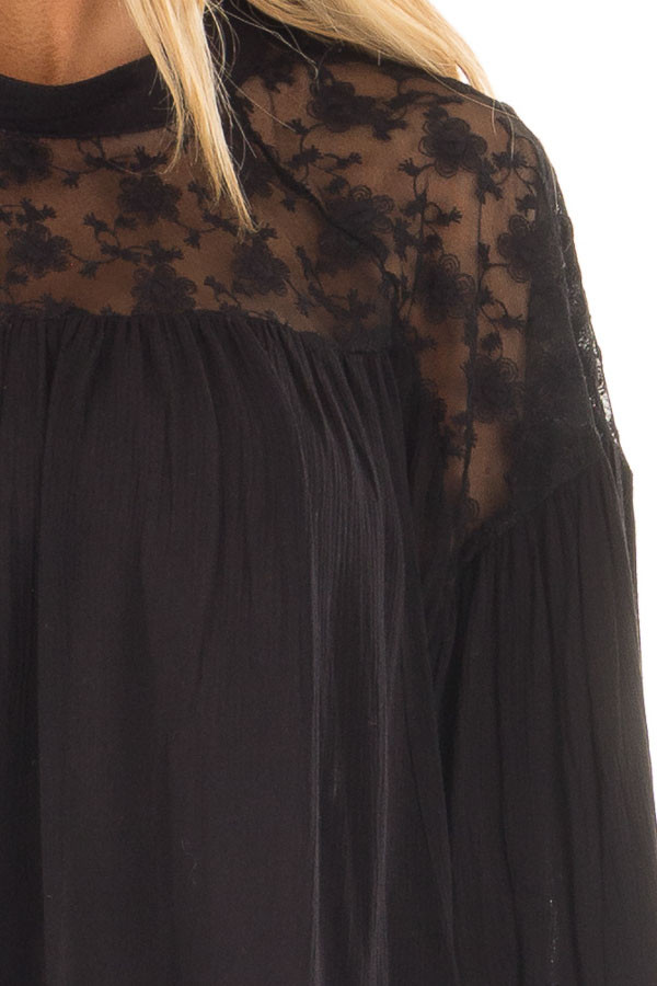 Black Flowy Top with Lace Upper and Keyhole Back front detail