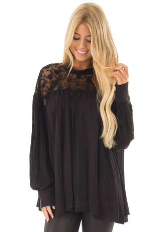 Black Flowy Top with Lace Upper and Keyhole Back front closeup