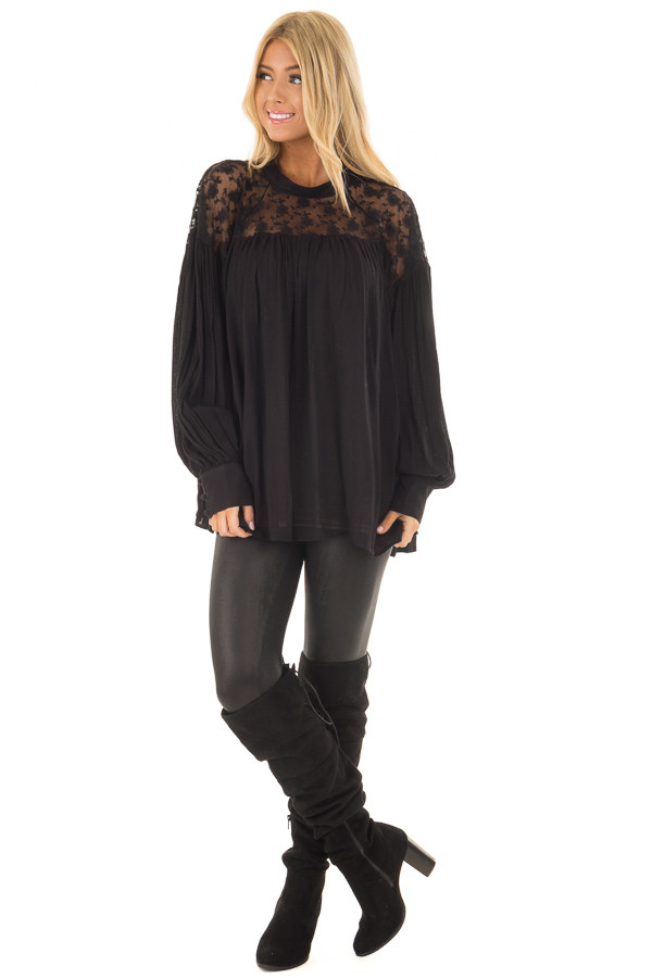 Black Flowy Top with Lace Upper and Keyhole Back front full body