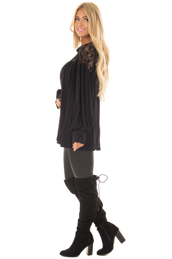 Black Flowy Top with Lace Upper and Keyhole Back side full body