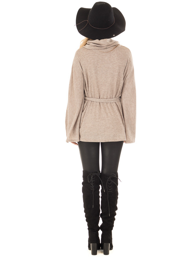 Taupe Poncho Style Top with Waist Tie and Cowl Neck back full body