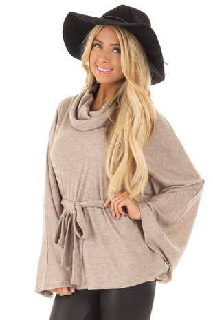 Taupe Poncho Style Top with Waist Tie and Cowl Neck front closeup
