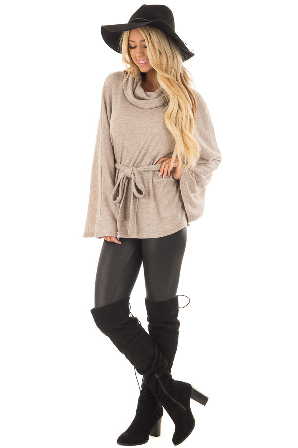 Taupe Poncho Style Top with Waist Tie and Cowl Neck front full body