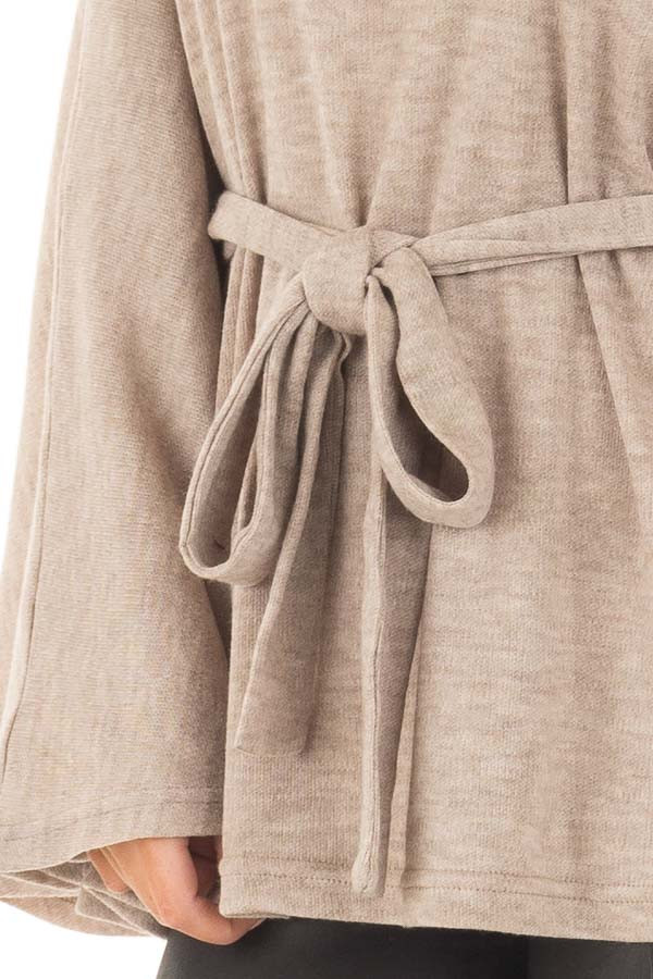 Taupe Poncho Style Top with Waist Tie and Cowl Neck front detail
