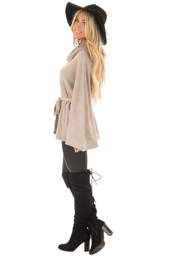 Taupe Poncho Style Top with Waist Tie and Cowl Neck side full body
