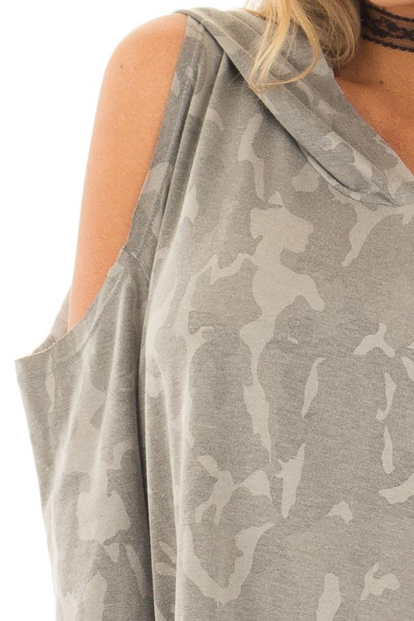 Faded Olive Camo Print Cold Shoulder Lightweight Hoodie front detail
