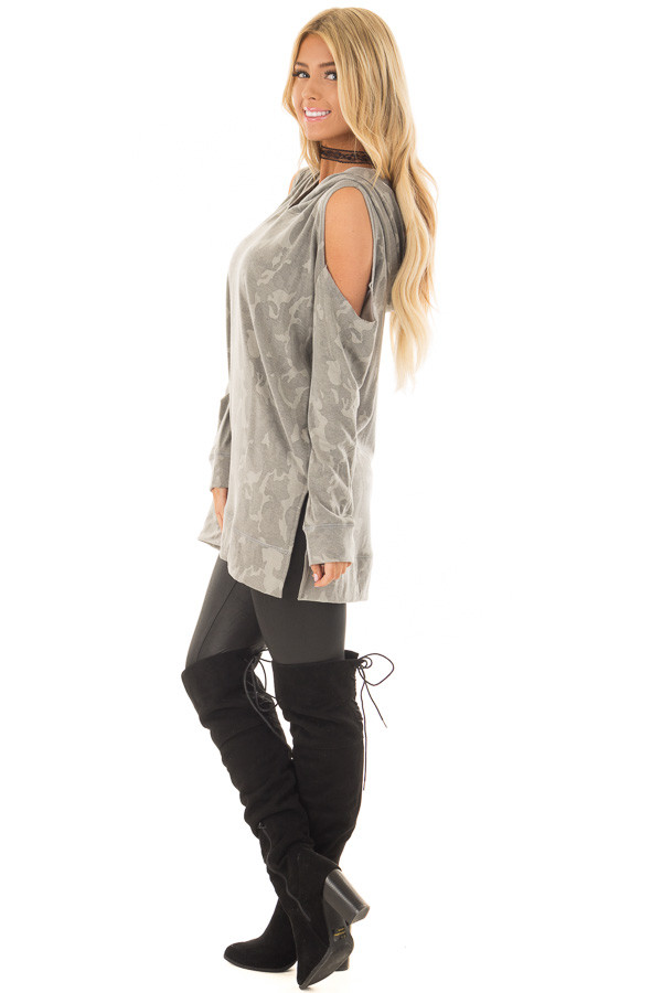 Faded Olive Camo Print Cold Shoulder Lightweight Hoodie side full body