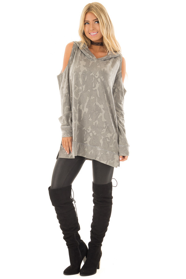 Faded Olive Camo Print Cold Shoulder Lightweight Hoodie front full body