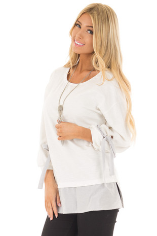 Ivory Top with Stripe Contrast and Sleeve Ties front closeup