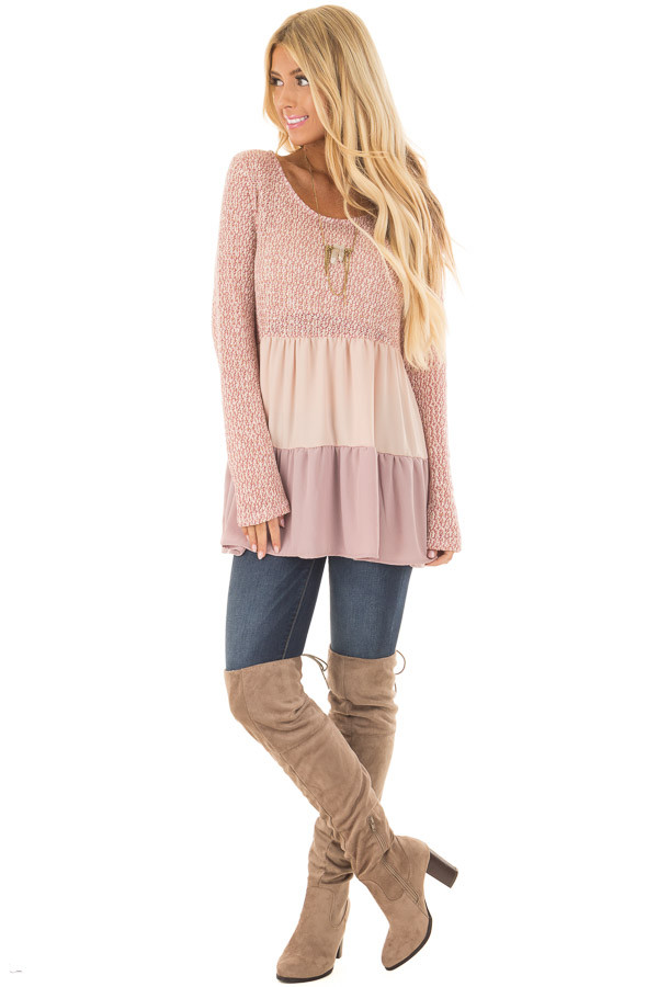 Rose Two Tone Top with Chiffon Color Block Contrast front full body