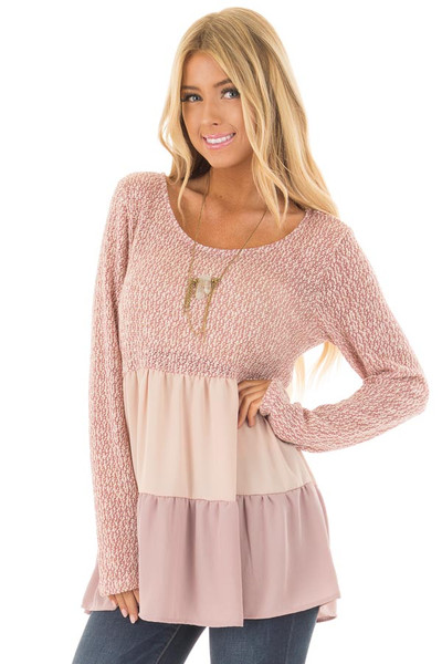 Rose Two Tone Top with Chiffon Color Block Contrast front closeup