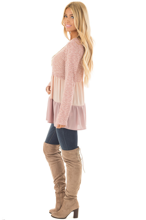 Rose Two Tone Top with Chiffon Color Block Contrast side full body