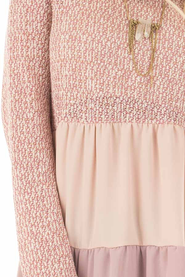 Rose Two Tone Top with Chiffon Color Block Contrast front detail