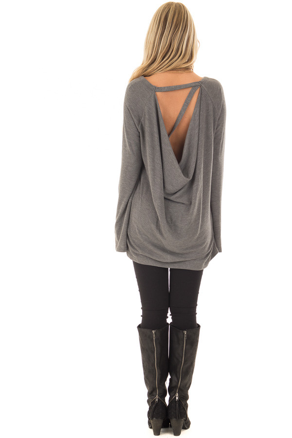 Charcoal Top with Drape Back and Strap Details back full body