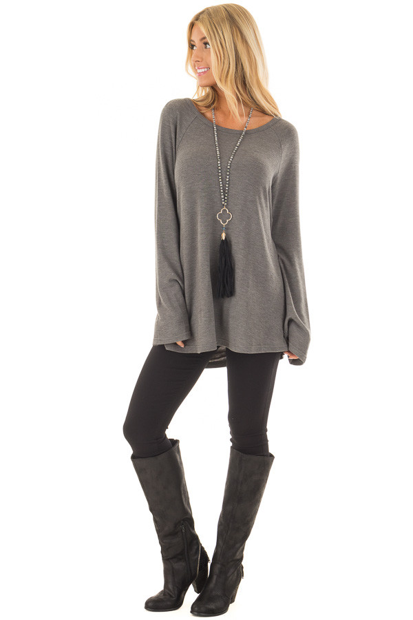 Charcoal Top with Drape Back and Strap Details front full body