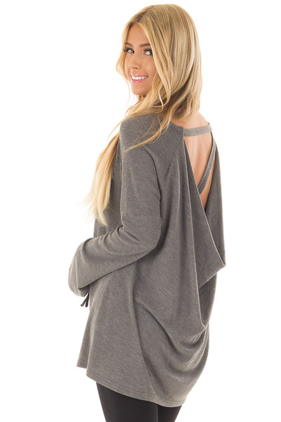 Charcoal Top with Drape Back and Strap Details over the shoulder closeup