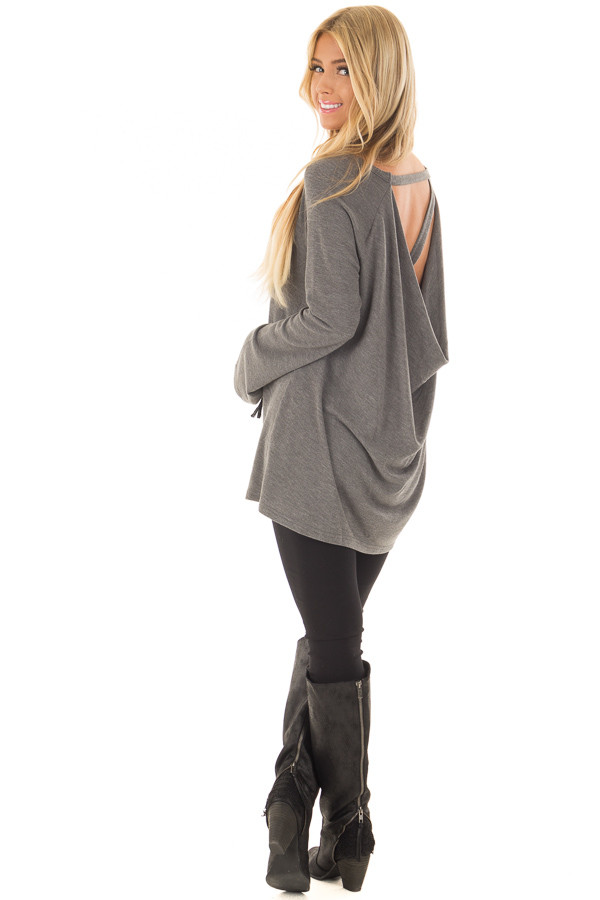 Charcoal Top with Drape Back and Strap Details over the shoulder full body