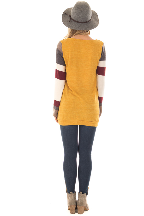 Gold Sweater with Cream and Burgundy Striped Sleeves back full body