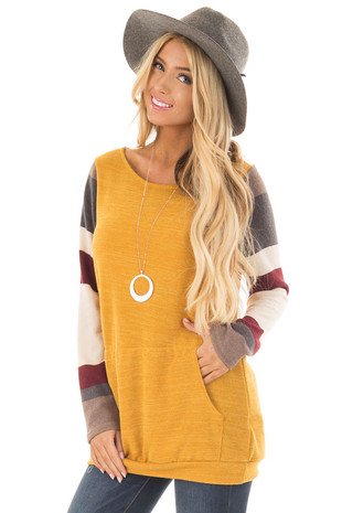 Gold Sweater with Cream and Burgundy Striped Sleeves front closeup