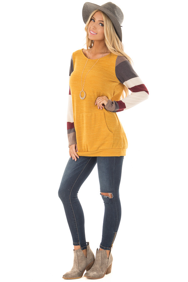 Gold Sweater with Cream and Burgundy Striped Sleeves front full body