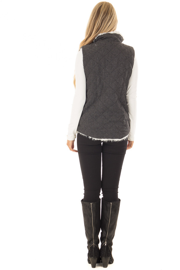 Charcoal Reversible Quilted and Faux Fur Vest back full body