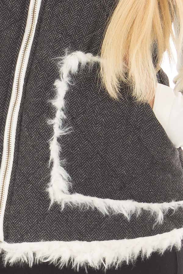 Charcoal Reversible Quilted and Faux Fur Vest detail